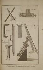 Stampa antica Strumenti Astronomia Graham Diderot D'Alambert 1780 kupfertisch