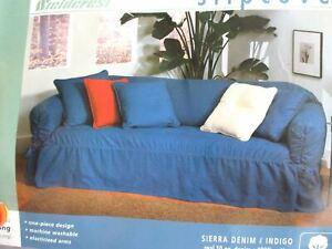 "NEW FIELDCREST SIERRA Denim 1-Piece  SOFA COUCH Slipcover Indigo Washable 74-96"""