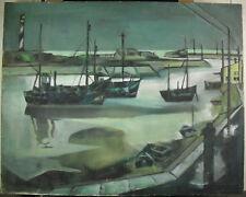 Georges HANQUET Le port de Concarneau (?) Bretagne Bateau paint c1950 boat 92cm