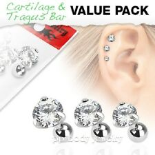 3 Pcs Value Pack of Assorted Steel Tragus Barbell Prong Set Clear Round Gem Top