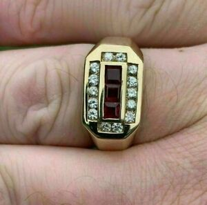 Men's Channel Set Engagement & Wedding Ring 1.7 Ct Ruby 14K Yellow Gold Over