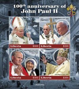 Liberia - 2020 Pope John Paul II Centenary - 4 Stamp Sheet - LIB200306a