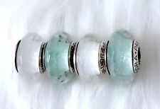 4  Pandora silver Murano Christmas Mint Shimmer White Glass Look  Beads Charm #1