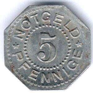 Heiligenstadt und Worbis 5 Pfennig 1919 (Eisen) 8eckig, Funck 206.1, ss