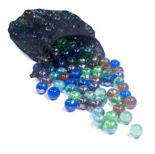 2x Bags of 50 Glass Marbles 47 3 Colourful Traditional Large and Small Marbles