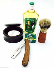 WOOD 6 PC CUT THROAT STRAIGHT RAZOR, CLUBMAN AFTER SHAVE, BRUSH SHAVING SET/KIT