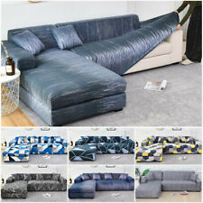 L-shape Sofa Cover Cotton Elastic Slipcovers Couch Corner Sectional  1-4 Seaters