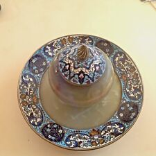 ANTIQUE XIX CENTURY FRANCE COLLECTIBLE INKSTAND INKWELL ONYX ENAMEL HANDMADE!