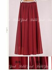 2018 Women Chiffon Long Maxi Skirt Elastic Waist Double Layer Summer Beach 100cm