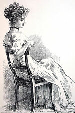 Charles D. Gibson Girl SITTING in CHAIR 1909 LTD. EDITION PORTFOLIO Print Matted