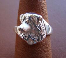 Sterling Silver Australian Shepherd Head Study Ring