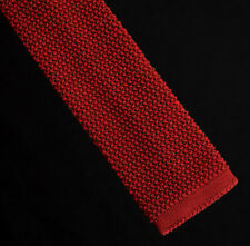 Lands' End Silk Knit Neck Tie Red Crunchy Square Tip Skinny Made in Italy