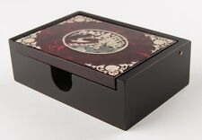 Mother of Pearl MOP Inlay Wood Business Name Card Namecard Case Box Holder Red