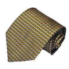 Men's greyish brown with gold, black and white tiny design woven  tie
