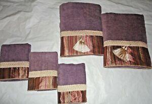 AVANTI ALLAIRE PURPLE BRAIDED CUFF STRIPE (5P) BATH & HAND TOWEL SET