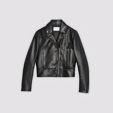 $745 BIKER size S LEATHER JACKET WITH DOUBLE ZIP Sandro Women 2017/18 season