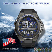 SANDA 6024 Men's Army Alarm Date 50M Waterproof Sport LED Digital Analog Watch