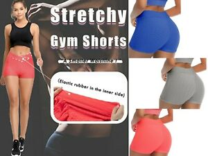Women Honeycomb Textured Ruched Booty Gym Running Workout Yoga Sexy Hot Pants