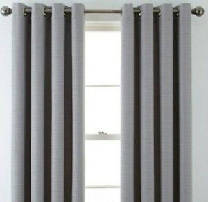 (1) JCPenney JCP Liz Claiborne Quinn Basketweave GRAY Grommet Curtain 50 x 84