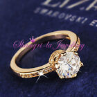 18K GOLD GF SOLITAIRE Wedding ENGAGEMENT BAND RING with Swarovski DIAMOND R3005