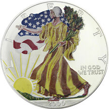 USA 1 Dollar 2000 American Silver Eagle Farbmünze in Münzkapsel T11-9