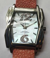 CROTON Women's Deco Style Bezel Watch Sting Ray Leather Band New Battery