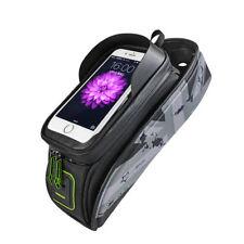 "RockBros Bike Frame Bag 5.8"" Touch Screen Waterproof Front Tube Cycling Bag Gray"
