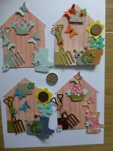 4 Large Mens & Ladies Assorted Garden Sheds  Birthday retirement card toppers
