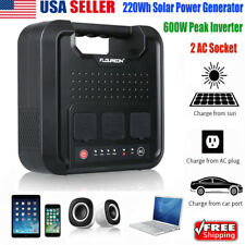 600W Inverter 220Wh Portable Solar Electric Power Generator Energy Storage 4USB
