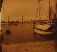 Marsiglia Port Francia Foto Stereo PL58L1n Placca Da Lente Vintage 1925