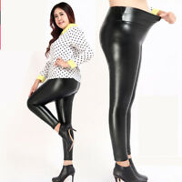 Womens Faux Leather BLACK High Waist Leggings Stretchy Pants Trousers Plus Size