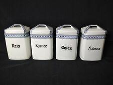 4er Set Vorratsdosen Porzellan, Gries, Nudeln, Reis, Kaffee, mit Deckel, 17 cm