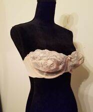 Vtg Vanity Fair Style 74-100 Strapless Bra Size 34 D USA Made Beige Lace Cups