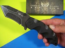 Combat Ready - CUMA Tanto BEAST blackwash AUS-8 flipper knife G-10 C.U.M.A. 341
