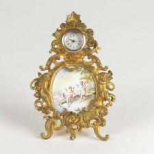 Antique Viennese enamel clock miniature gilt bronze Austrian