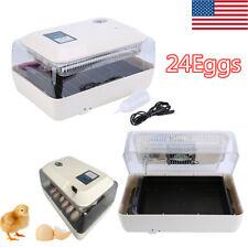 Digital 24 Eggs Incubator Hatcher Fully Auto Turning Temperature Control & Alarm