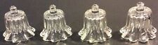 4 Votive Peg Bottom Clear Glass Tulip Cups Candle Holder Home Inter Decor Ruffle