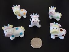 Collectibles Cow Handmade Miniatures Animals Figurines, Lot of 5 Cows Mix Colors