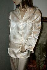 SATIN Glanz Pyjama * Negligee-Anzug  creme glatt geblümt M