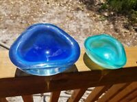 2 Murano? Italy Glass Bowl Dish Ashtray Cobalt Blue & Green Paperweight AS IS