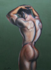 Print Of Male Pastel Drawing - Under Arrest Pin Up Art Man Figure Artist Andreev