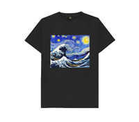 Starry Night x The Great Wave Off Kanagawa Japanese Art Black T-Shirt S-6XL M01