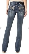 MISS ME Jeans NWT Embellished Angel no More Distressed Mid-Rise Boot 26 X 34 New