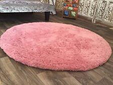Fluffy Super Soft Large Round Plush Pink Rug 120 cm