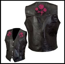 Gilet en cuir sans manche Femme Roses Brodées - S M L XL XXL - Biker / country