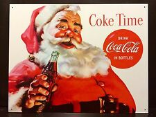 Coke Time Santa Claus Drink Coca Cola TIN SIGN vtg Retro Ad Wall Decor