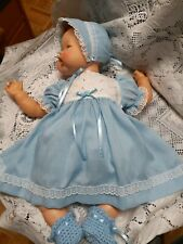 """Doll Clothes Dress Set For 19"""" Large  Thumbelina """"Blue Dimity Dress"""" by Maureen"""