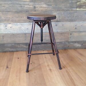 Bistro-style stool in Burnt Copper colour finish, 64-82cm adjustable height