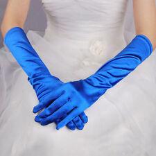 Paire de gants longs satin pour mariage : LONG 40 cm - coloris bleu roi