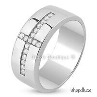 MEN'S SILVER STAINLESS STEEL SIMULATED DIAMOND HOLY CROSS RING BAND SIZE 8-13